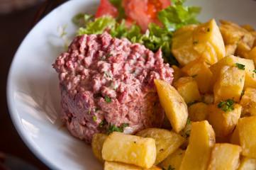 Close up of beef tartar .