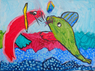 Child's painting - two seals