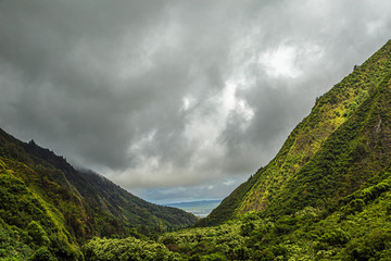 A view of central Maui valley through Mauna Kahalawai from within Iao Valley State Park on Maui, Hawaii