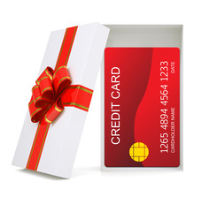 Credit card in gift box on white