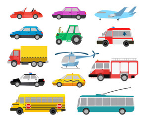 set of cartoon cute cars and other vehicles. vector illustration