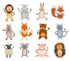 set of cute animals. vector illustration