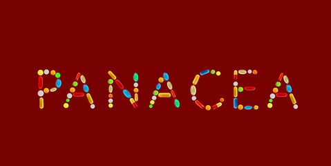 The word Panacea made with pills on red background