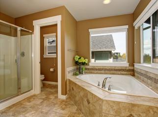 Master bathroom with luxury bathtub.
