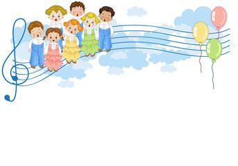 Coro di Bambini  sul Pentagramma con Sfondop Bianco