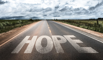 Hope written on rural road Wall mural