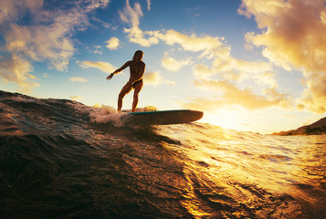 Wall Mural - Surfing at Sunset
