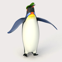 Emperor penguins , cartoon penguins , 3d render penguins isolated on white background