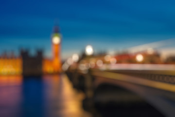 Wall Mural - Bokeh of Big Ben and Westminster bridge, London