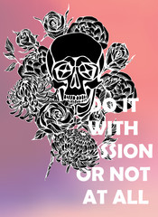 Printed kitchen splashbacks Watercolor Skull Quote Typographical Background with hand