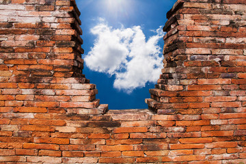 texture of old Brick Wall in Sky background