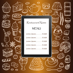 Restaurant menu with hand drawn doodle elements and tablet computer