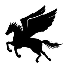 Pegagus - Horse with Wing Vector Silhouette