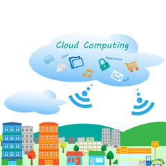 クラウド、インターネット、ビジネス、生活、便利、町、街、環境、屋外、屋内