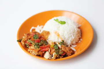 Spicy salad chicken with rice