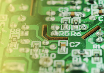 Closeup of an electronic printed circuit board
