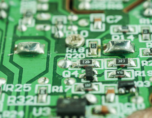 Closeup of an electronic printed circuit board