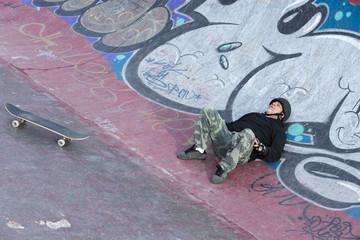old man skater resting
