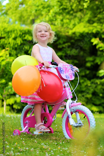 Happy 3 Years Old Girl Riding First Bike Adorable Healthy Preschool