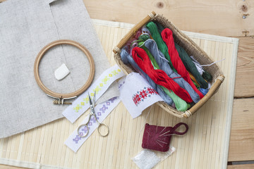 Sewing and ambroidery craft kit, embroidery thread in basket and other tools, selective focus