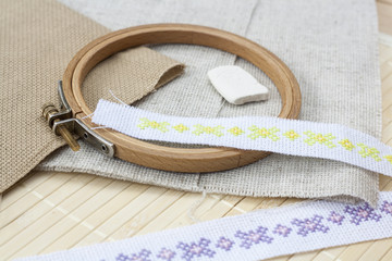 Sewing and ambroidery craft kit, embroidery and other tools, selective focus