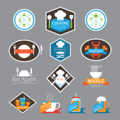Food, Beverage, Cooking Labels and Badges, Flat Design Style