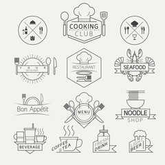 Food, Beverage, Cooking Labels and Badges, Linear Design Style