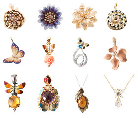 collection of pendants isolated on white background