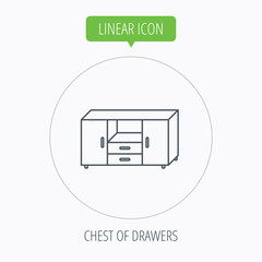 Chest of drawers icon. Interior commode sign.