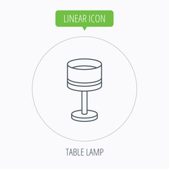 Table lamp icon. Desk light sign.