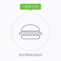 Vegetarian burger icon. Fast food sign.
