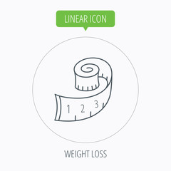 Measuring tape icon. Weight loss sign.