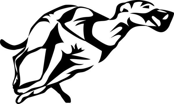 stylized greyhound dog racing