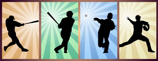 set of baseball players silhouette