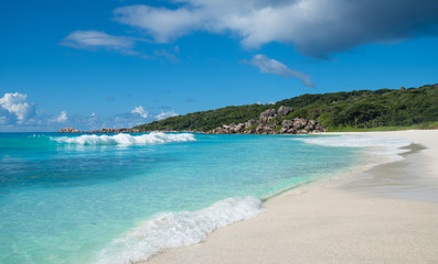 Grand Anse tropical beach, La Digue island, Seychelles