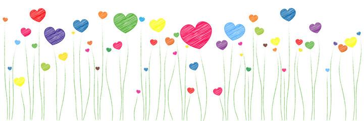 Banner | bunte Herzen | Scribble Skizze Zeichnung