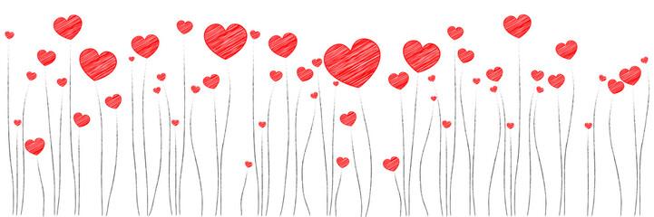 Banner | rote Herzen | Scribble Skizze Zeichnung