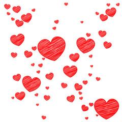 Rote Herzen | Scribble Skizze Zeichnung