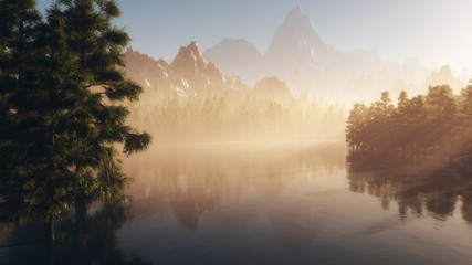 Lake with pines and mountains in background at sunrise