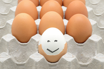 eggs with happy face on paper crate