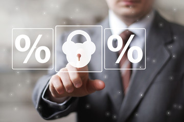 Business button lock security percent icon