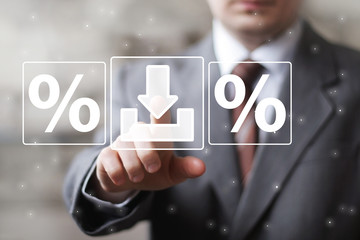 Businessman push button web download percent icon