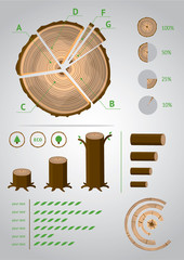 Eco Infographic. A template set for infographics ecological and a timber industry.