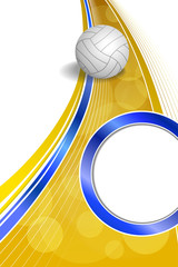 Background abstract sport volleyball blue yellow ball circle frame vertical illustration vector