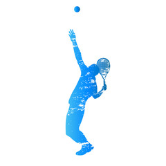 Scratched vector silhouette serving tennis player