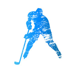 Scratched vector silhouette ice hockey player