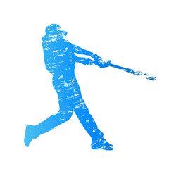 Scratched vector silhouette of baseball player