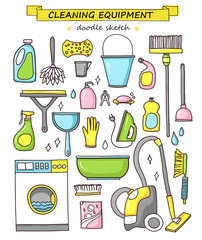 Vector doodle set of cleaning tools.