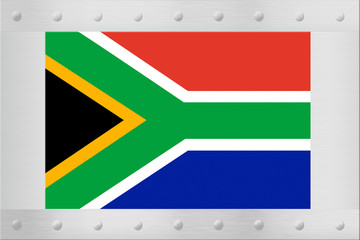 South African flag on silver