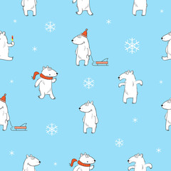 Seamless pattern with cute cartoon polar bears and snowflakes on a blue background.